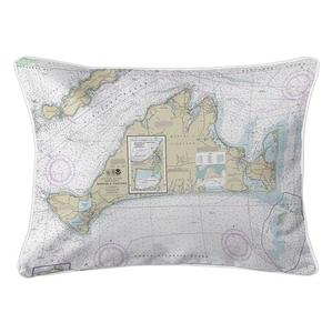 Martha's Vineyard, MA Nautical Chart Lumbar Coastal Pillow