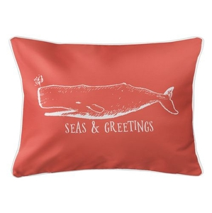 Vintage Whale Christmas Lumbar Coastal Pillow - Coral