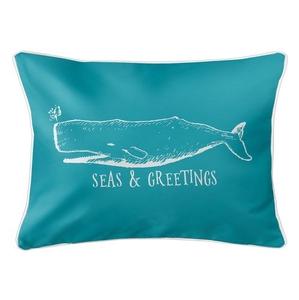 Vintage Whale Christmas Lumbar Coastal Pillow - Light Turquoise