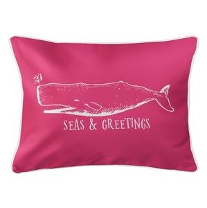 Vintage Whale Christmas Lumbar Coastal Pillow - Pink