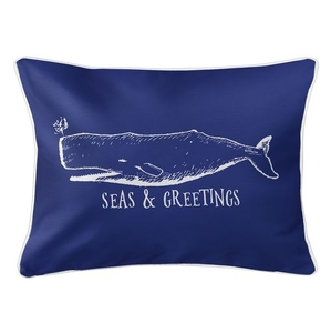 Vintage Whale Christmas Lumbar Coastal Pillow - Dark Blue