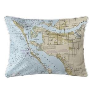 Bradenton, FL Nautical Chart Lumbar Coastal Pillow