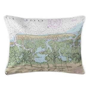 Stone Harbor, Avalon, NJ Nautical Chart Lumbar Coastal Pillow