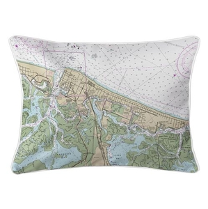 Atlantic City, NJ Nautical Chart Lumbar Coastal Pillow