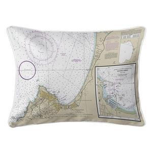 Pacific Grove, Monterey, CA Nautical Chart Lumbar Coastal Pillow
