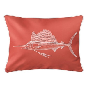 Sailfish Coral Lumbar Coastal Pillow