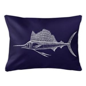 Sailfish Navy Lumbar Coastal Pillow