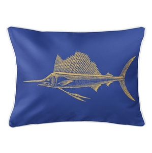 Sailfish Yellow & Blue Lumbar Coastal Pillow