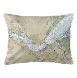 Benicia, CA Nautical Chart Lumbar Coastal Pillow