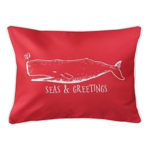 Vintage Whale Christmas Lumbar Coastal Pillow - Red