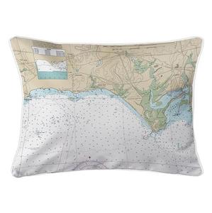 Madison, CT Nautical Chart Lumbar Coastal Pillow