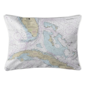 Straits of Florida Nautical Chart Lumbar Coastal Pillow