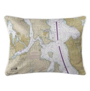 Bremerton, Bainbridge Island, Seattle, WA Nautical Chart Lumbar Coastal Pillow