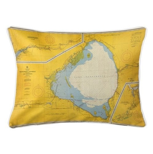 Lake Okeechobee, FL C. 1958 Vintage Nautical Chart Lumbar Coastal Pillow