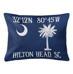 Personalized South Carolina Palm & Crescent Coordinates Lumbar Coastal Pillow