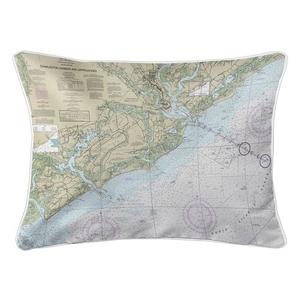 Charleston Harbor and Approaches, SC Nautical Chart Lumbar Coastal Pillow