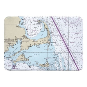 Cape Cod, Martha's Vineyard, Nantucket, MA Nautical Chart Memory Foam Bath Mat