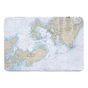 Woods Hole, MA Nautical Chart Memory Foam Bath Mat