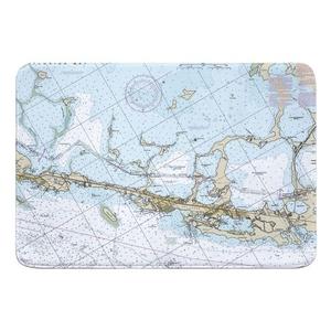 Key Largo, FL Nautical Chart Memory Foam Bath Mat