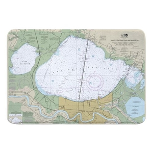 Lakes Pontchartrain and Maurepas, LA Nautical Chart Memory Foam Bath Mat