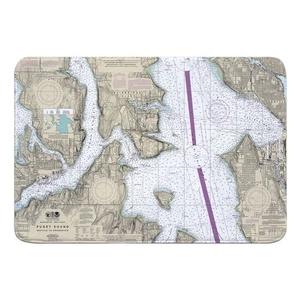 Puget Sound; Seattle to Bremerton, WA Nautical Chart Memory Foam Bath Mat