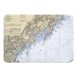 New Rochelle, Larchmont, Mamaroneck, NY Nautical Chart Memory Foam Bath Mat