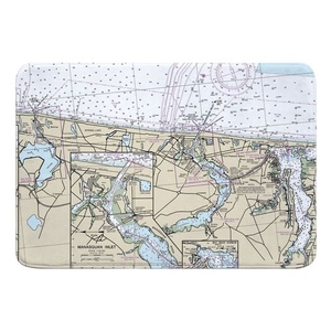Spring Lake, Manasquan Inlet, Bay Head, NJ Nautical Chart Memory Foam Bath Mat