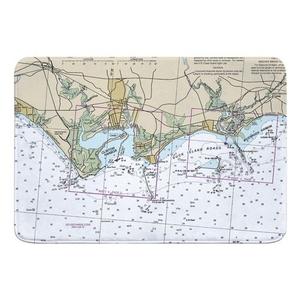 Clinton, CT Nautical Chart Memory Foam Bath Mat