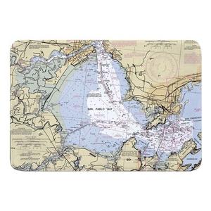 San Pablo Bay, San Pablo, Richmond, CA Nautical Chart Memory Foam Bath Mat