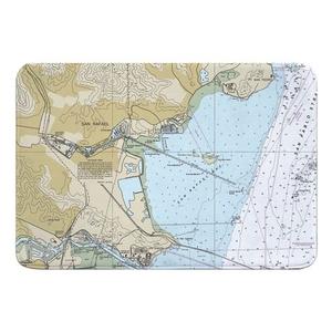 San Rafael, CA Nautical Chart Memory Foam Bath Mat