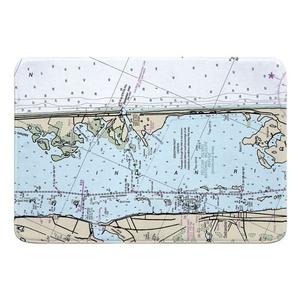 Sebastian Inlet, FL Nautical Chart Memory Foam Bath Mat
