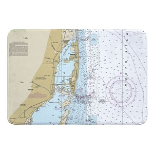 Miami, FL Nautical Chart Memory Foam Bath Mat
