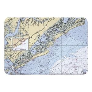 Sullivans Island, Isle of Palms, Bull Island, SC Nautical Chart Memory Foam Bath Mat