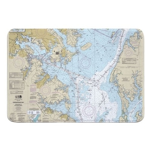 Chesapeake Bay; Approaches to Baltimore Harbor, MD Nautical Chart Memory Foam Bath Mat