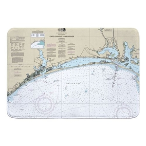 Cape Lookout to New River, NC Nauitcal Chart Memory Foam Bath Mat