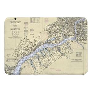 DE-PA Delaware River; Wilmington, DE to Philadelphia, PA Nautical Chart Memory Foam Bath Mat