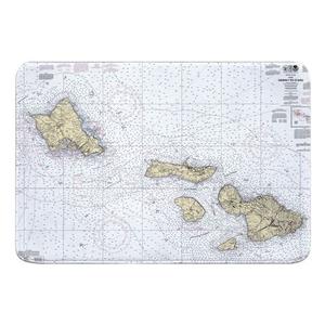 Hawaii to Oahu, HI Nautical Chart Memory Foam Bath Mat