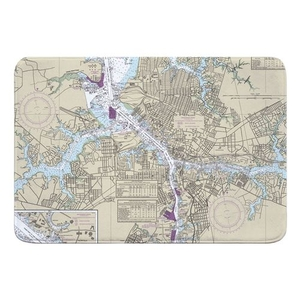 Portsmouth, Norfolk, VA Nautical Chart Memory Foam Bath Mat