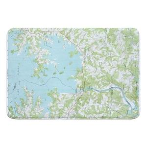 Lake Norman South, NC (1970) Topo Map Memory Foam Bath Mat