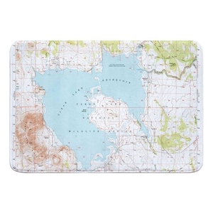 Clear Lake Reservoir, CA (1951) Topo Map Memory Foam Bath Mat