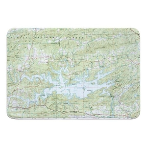 Lake Ouachita, AR (1982) Topo Map Memory Foam Bath Mat
