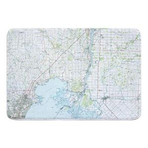Lake St. Clair North, MI (1981) Topo Map Memory Foam Bath Mat