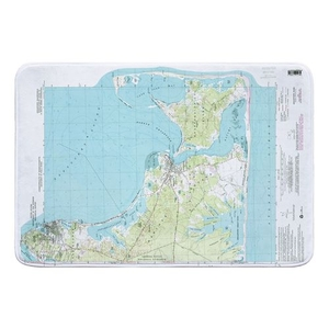 Edgartown, MA (1972) Topo Map Memory Foam Bath Mat