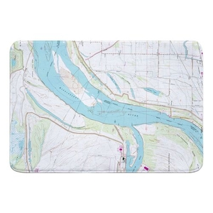 Fletcher Lake, AR; MS River; Lake McKellar, TN (1966) Topo Map Memory Foam Bath Mat