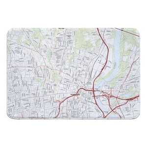 Hartford North, CT Topo Map Memory Foam Bath Mat