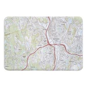 Waterbury, CT Topo Map Memory Foam Bath Mat