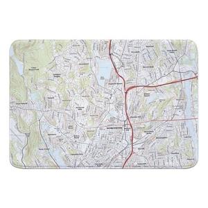 Worcester North, MA Topo Map Memory Foam Bath Mat