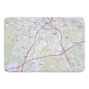 Worcester South, MA Topo Map Memory Foam Bath Mat