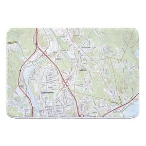 Manchester North, South Hooksett, NH Topo Map Memory Foam Bath Mat