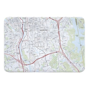 Manchester South, NH Topo Map Memory Foam Bath Mat